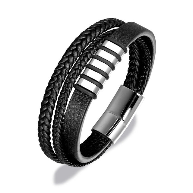 Multi-layer Braided Genuine Leather Bracelet For Men  Stainless Steel