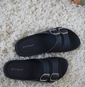 CHLOE'S BUCKLE ME TIGHT SILICONE BLACK SLIDES