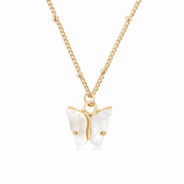 'Wood White Butterfly' White Necklace
