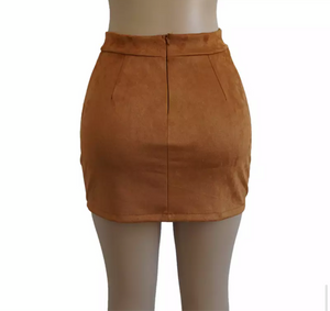 """Angel"" Suede Brown Lace Up High Waisted Skirt"
