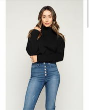 "Load image into Gallery viewer, ""Maria"" Black Mock Neck Cropped Fleece Sweater"