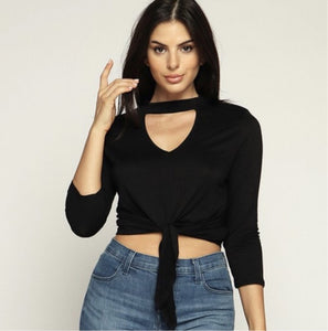"""Jenna"" Black V Neck Choker Style Tie Up Top"
