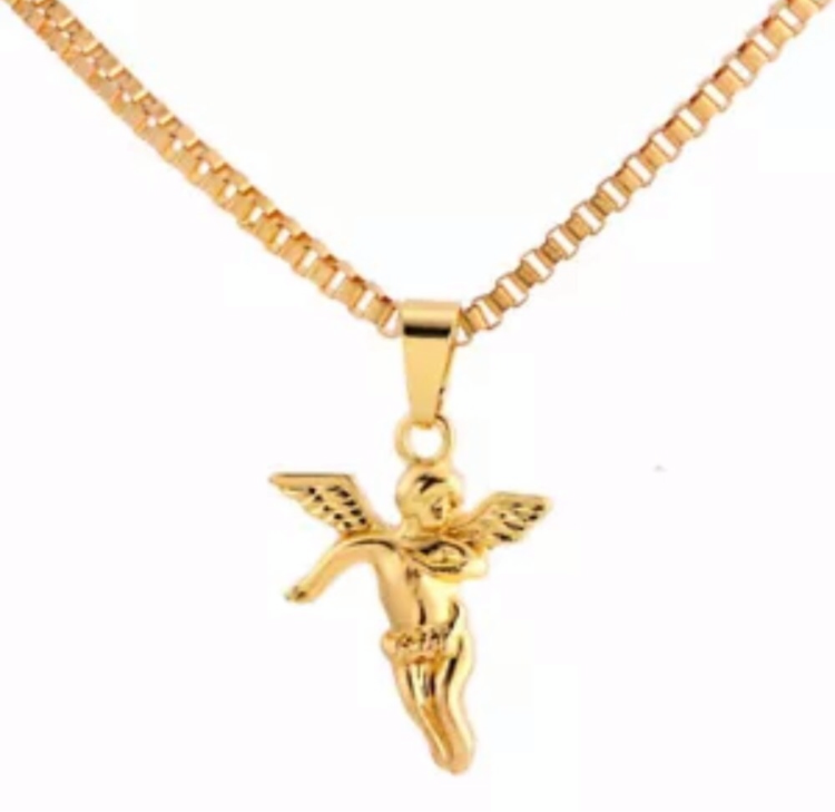 Gold Angel Pendant Extra Long Necklace