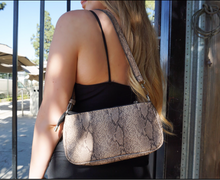 Load image into Gallery viewer, JES FAUX ANIMAL PRINT HANDBAG- BEIGE SNAKESKIN