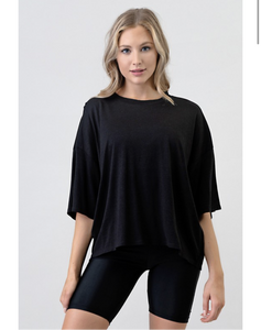 """Miley"" Black Loose Fit Comfy Tee Shirt"