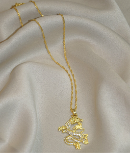 FEELIN' ICY GOLD DRAGON NECKLACE