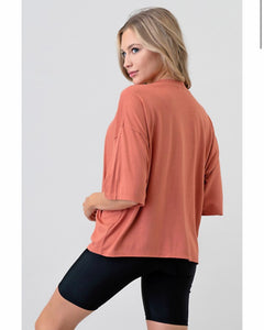 """Miley"" Coral Loose Fit Comfy Tee Shirt"
