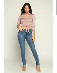 """Jenna"" Mauve V-Neck Tie Up Crop Top"