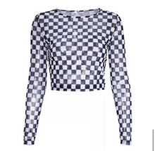 "Load image into Gallery viewer, ""Janice"" Checkered Mesh Crop Top"
