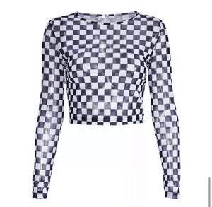 """Janice"" Checkered Mesh Crop Top"