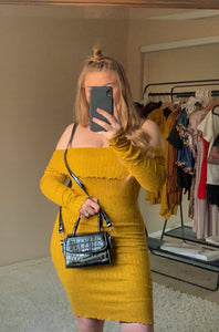 """Aubrey"" Burnt Mustard Midi Ultra Soft Dress"