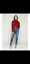 "Load image into Gallery viewer, ""Maria"" Mock Neck Cropped Fleece Sweater"
