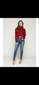 """Maria"" Mock Neck Cropped Fleece Sweater"