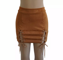 "Load image into Gallery viewer, ""Angel"" Suede Brown Lace Up High Waisted Skirt"