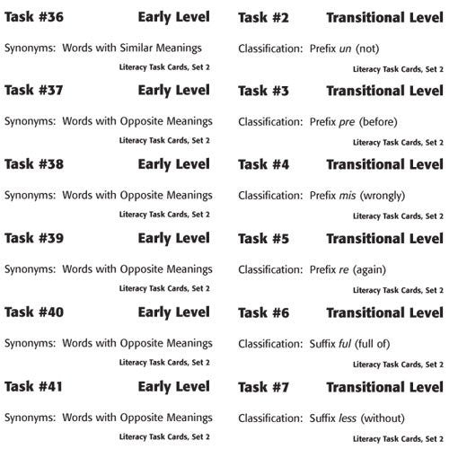Labels for Literacy Task Card Set 2: Vocabulary Development
