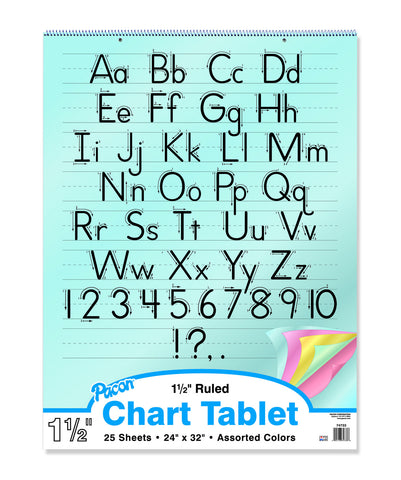 "Chart Tablets (Colored Paper, 1-1/2"" Ruled, Full-Size, Manuscript Cover)"