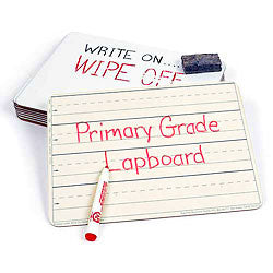 Two-sided, Write-On/Wipe-Off Lapboards (Primary-grade, set of 10, 9 x 12)
