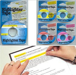 Highlighter Tape 1/2 inch Package: 6 Colors (yellow, green, orange, pink, blue, purple)