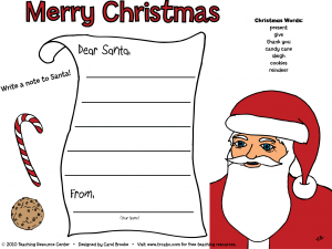 Free Christmas Note to Santa Placemat   Teaching Resource Center