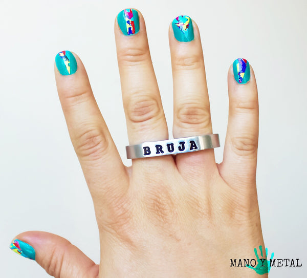 BRUJA {thin bar double-finger ring}