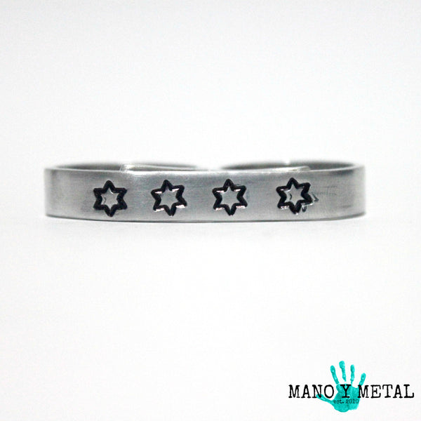 CHICAGO FLAG STARS{bar double-finger ring}