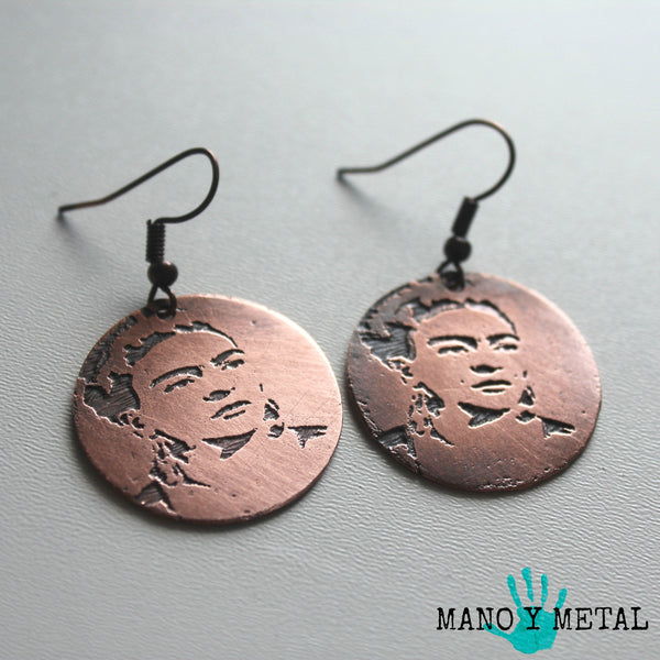 Small Frida Kahlo Copper Earrings