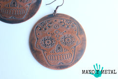 Sugar Skull Copper Earrings