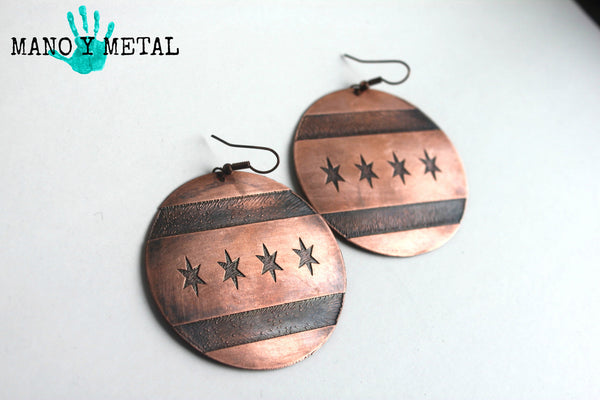 Big Chicago Flag Copper Antique Earrings