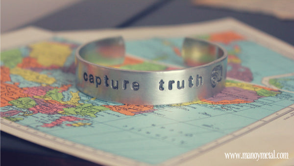 Capture Truth + Vintage Camera {thin cuff bracelet}