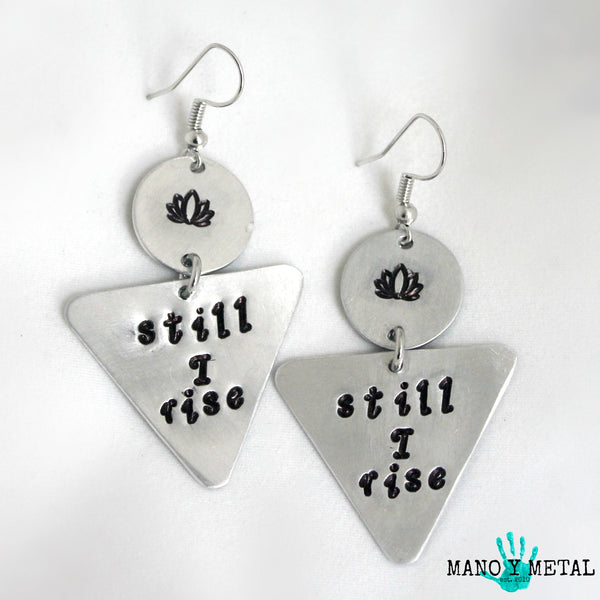 STILL I RISE::: {triangle dangle earrings)