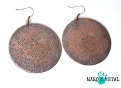 Aztec Calendar {Big o' Copper Earrings}