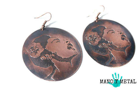 Billie Holiday {Big o' Copper Earrings}
