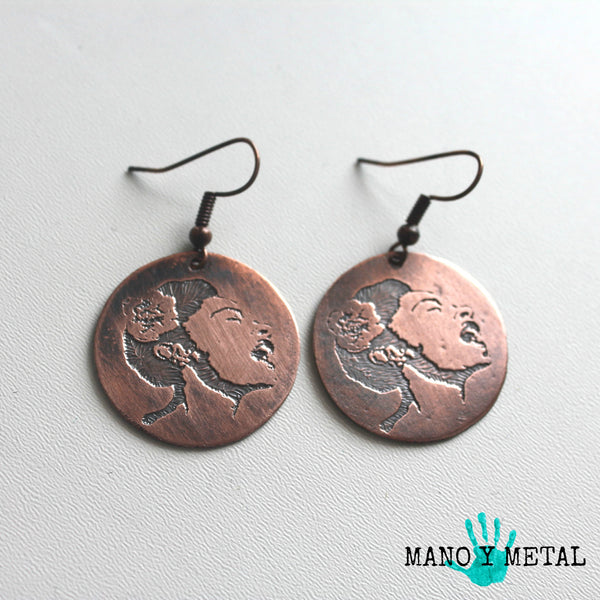 Small Billie Holiday Copper Earrings