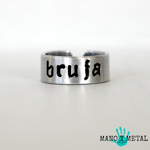 BRUJA★::: {hand stamped adjustable ring}