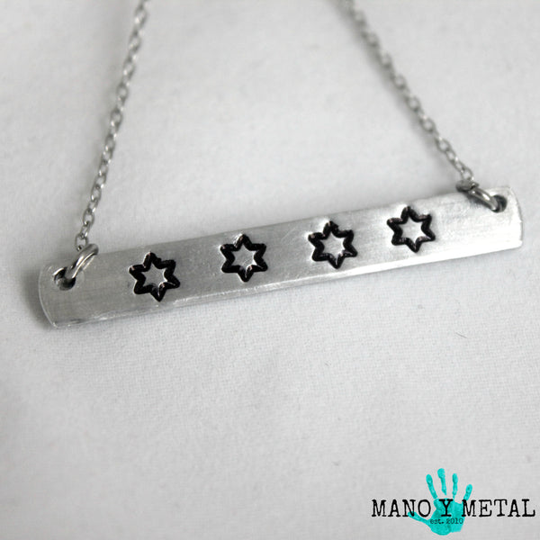 CHICAGO FLAG STARS {bar necklace}