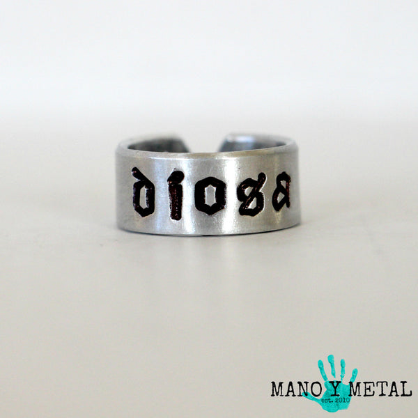 DIOSA★::: {hand stamped adjustable ring}