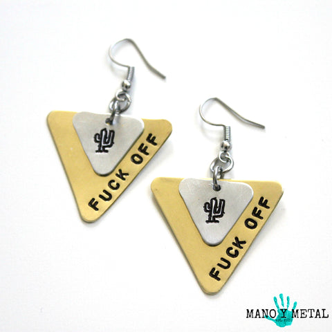 Fuck Off::: {triangle brass and cactus dangle earrings}