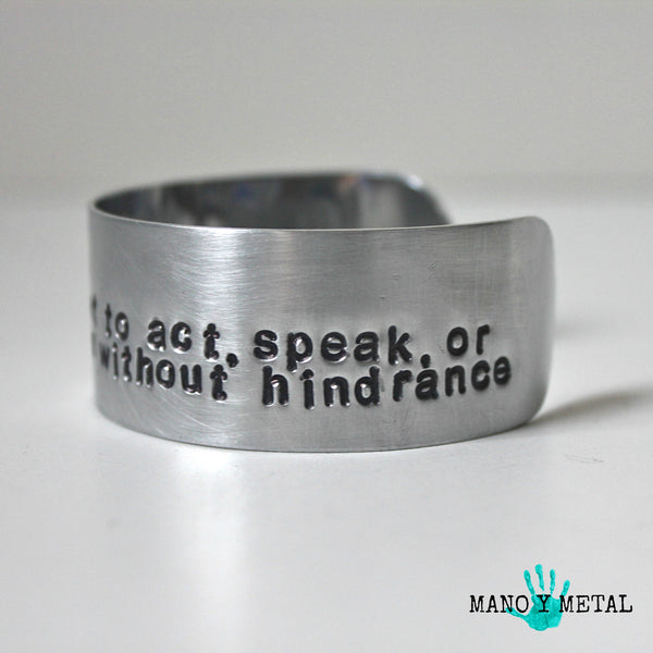 free·dom: the power or right to act, speak, or think as one wants without hindrance or restraint. {bracelet}