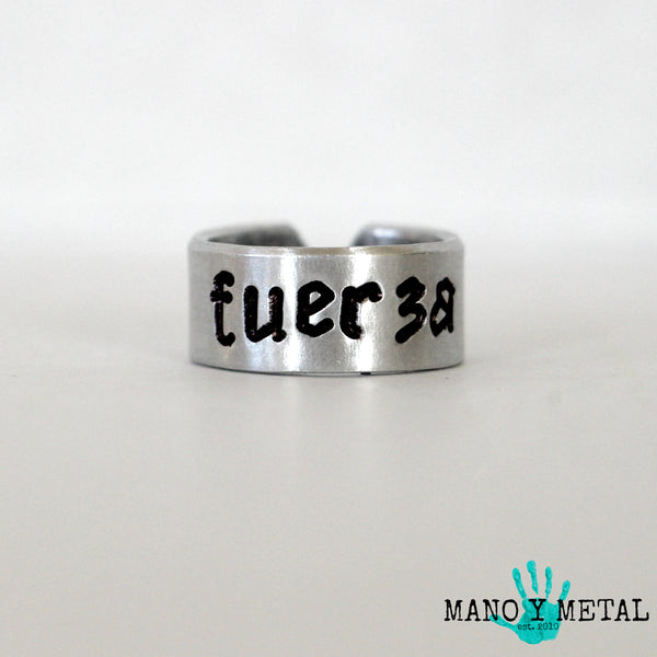 FUERZA★::: {hand stamped adjustable ring}