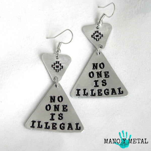 NO ONE IS ILLEGAL::: {triangle dangle earrings}