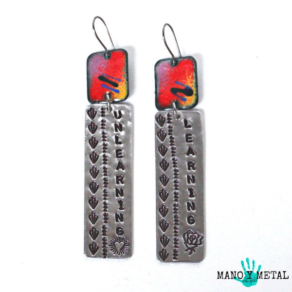 Learning :: Unlearning {enamel hand stamped earrings}