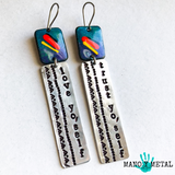 love yo'self :: trust yo'self {enamel hand stamped earrings}