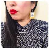 BOY BYE::: {brass layered metal earrings}