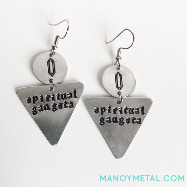 spiritual gangsta::: {triangle dangle earrings}