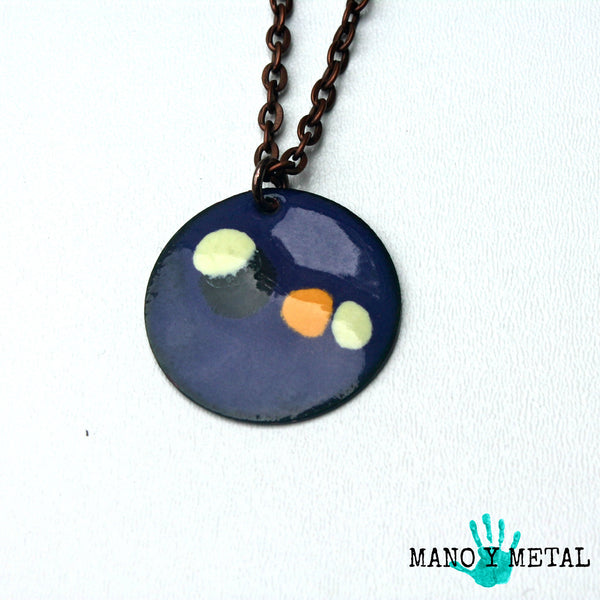 Yellow Pebbles::: Circle Enamel Necklace
