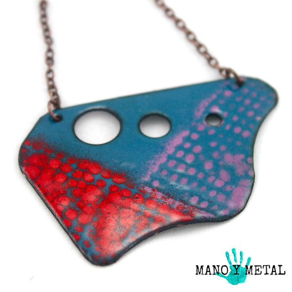 Eclectic Color Enamel Necklace:::