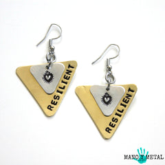 RESILIENT::: {triangle brass and sacred heart dangle earrings}