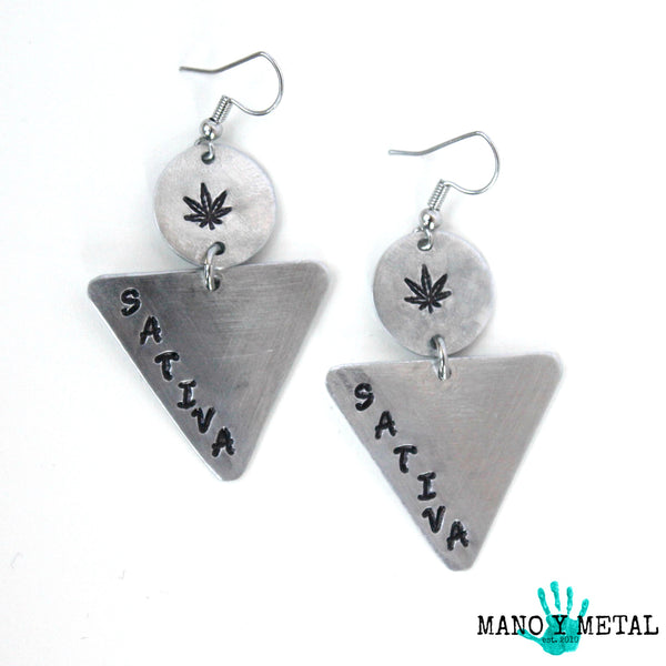 sativa::: {triangle dangle earrings)