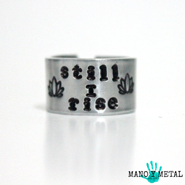 still i rise::: {hand stamped adjustable ring}