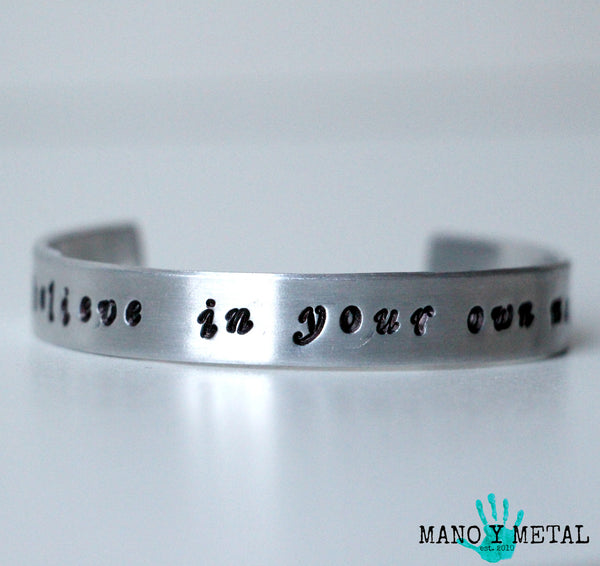 believe in your own magic::: {thin hand stamped cuff bracelet}